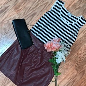 Silk Black & White Striped Tank